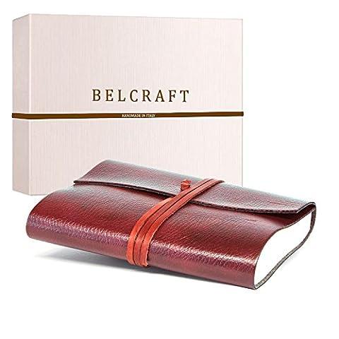 Tivoli A5 Journal Intime / Carnet de Notes en cuir recyclé de fabrication artisanale Italienne, Cadeau Spécial, Journal de Voyage, Notebook A5 (15x21 cm) Rouge