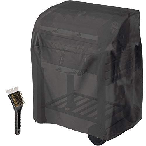 KROLLMANN universal Abdeckhaube in Schwarz für Tepro Grill Toronto, Abdeckung für Gasgrill und Kohlegrill mit Oramics Grillbürste,