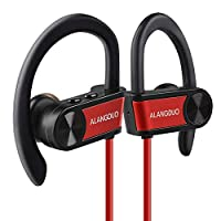 ALANGDUO Sport Bluetooth Headphones for Runners, Running Headphones Sweatproof Bluetooth Wireless Earphones Earbuds with Mic for Sports Gym Cycle Running (G7P Red)