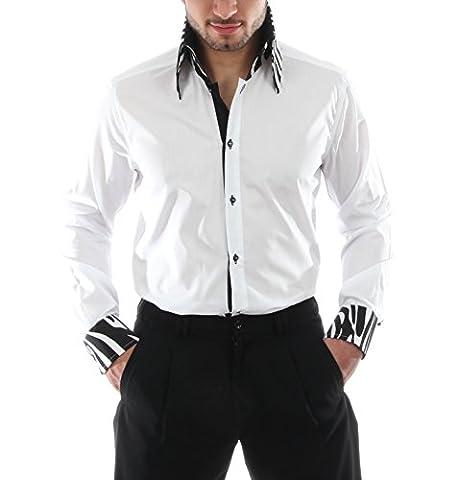Show-und Bühnenhemden in Weiß, für Herren BESTE QUALITÄT, HK Mandel Hemden im Stil der 50er 60er Jahren, Fifties Store Langarm Slim Fit, E-3 Grösse L