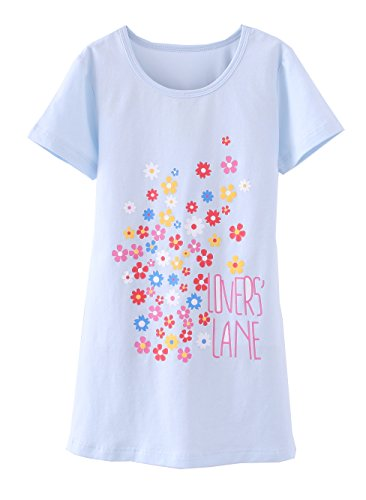 ABClothing Mädchen Blumen Nachthemden & Kurzarm Nachthemden Baumwolle Nachtwäsche Blau 5-6 Jahre