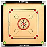 [ Branded ] Full SIze Carrom Board { Gol Pocket } Glossy Finishing With Special Net(((( 1set Wooden Coins & 1pc Multi Colour Striker & 2pc Carrom Powder 20+20=40gm ))))