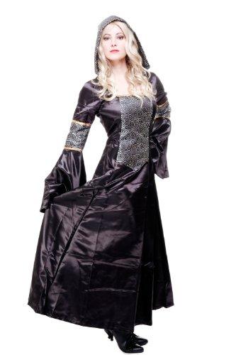 Kostüm Damen Damenkostüm aufwändiges Kleid mit Haube Mittelalter Romantik Elfe Gotik Gothic Burgfräulein L068 Gr. 46 / L - 6