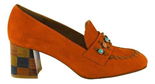 Zinda  2785 Orange Velour, Mocassins pour femme Orange