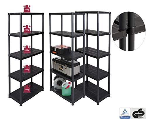 Kreher Vorteils-Pack: 3 Stück Kunststoff Steckregal mit 5 soliden Böden, belastbar mit bis zu 30 kg/Boden. Maße BxTxH in cm pro Regal: 71 x 38 x 171 cm, TÜV/GS geprüft. -