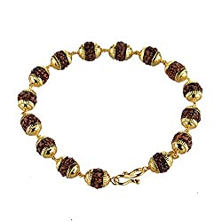 Gehnashop Adjustable Panch Mukhi Rudraksha bracelet with yellow caps for Unisex