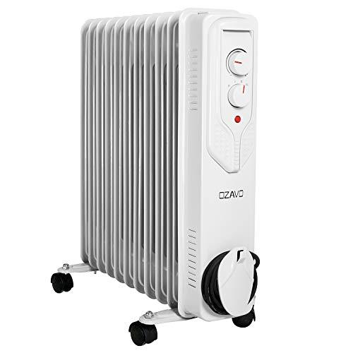 OZAVO Radiador de Aceite 11 Elementos 2500W,3 Niveles de Potencia,Control de Temperatura con termostato...