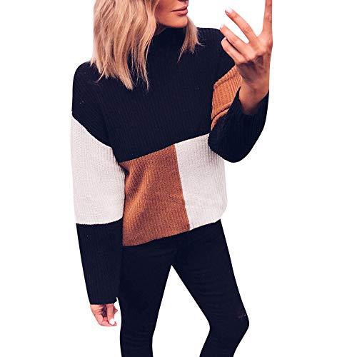 iHENGH Damen Herbst Winter Bequem Lässig Mode Frauen Colorblock Ständer Langarm Strickpullover Pullover Top Bluse(Kaffee, XL)
