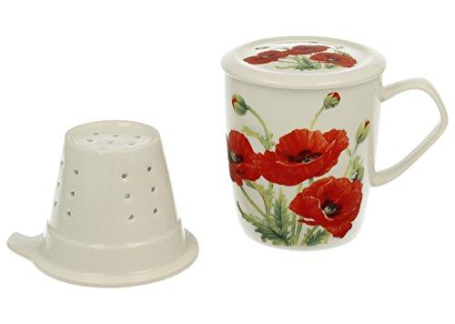 Tee-Tasse Teebecher Set mit Sieb und Deckel Porzellan | Mohn | Kräuter-Teetasse Geschenk-Tasse Cup with porcelain infuser 350 ml von DUO in Geschenkbox (Mit Tee-tasse Infuser)