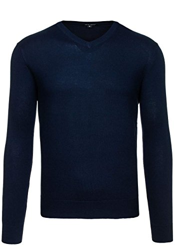 BOLF Herren Pullover Sweater Sweatshirt Strickpullover Pulli Slim Mix 5E5 Motiv Dunkelblau_9021