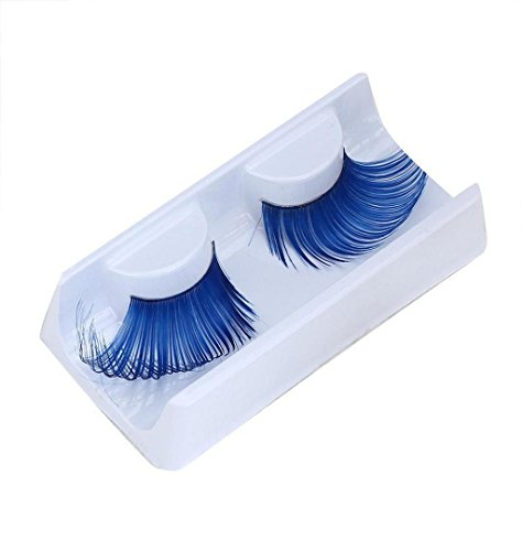 Falsche Voluminöse Wimpern Halloween Party Übertrieben,ZEZKT-Beauty Professional Dicken Handgefertigt Natürliche Fake Lashes Dicken Handgefertigt Lange Lockige (Blau)