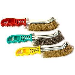 Kibros 3LOTSPIV1   Lot de 3 brosses à main métalliques convexes   1 brosse acier   1 brosse inox   1 brosse laiton   Brossage et nettoyage des surfaces métalliques   SKRIB