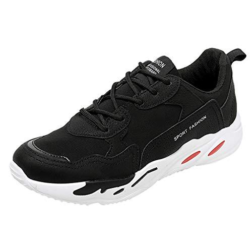 Laufschuhe für Herren/Skxinn Männer Student Sportschuhe,Turnschuhe Leichtes Straßenlaufschuhe Sneaker Atmungsaktiv rutschfest Trainer für Running Fitness Gym Outdoor 39-44 EU (Schwarz,40 EU)