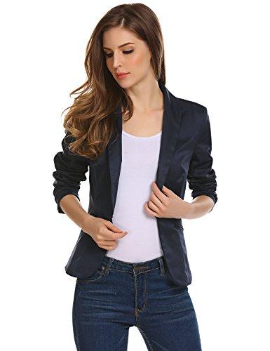 Damen Klassischer Blazer Tailliert mit Reverskragen Kurze Jacke Kurzblazer Kurzjacke Business Blazer Blau 42