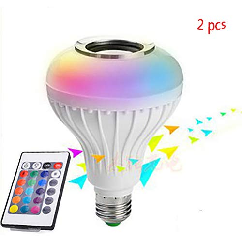 (LED Wireless Bluetooth Light Bulb Speaker-RGB Smart Music Bulb-Stereo Audio mit Fernbedienung 12W E27 Control für Party, Home, Halloween Weihnachtsdekorationen)