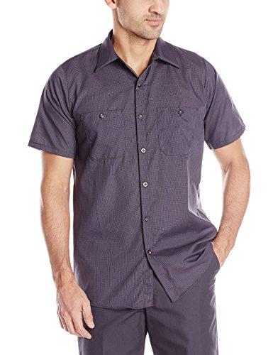 Red Kap Men's Geometric Micro-Check Work Shirt, Blue/Charcoal, Short Sleeve X-Large (Red Shirt Kap)