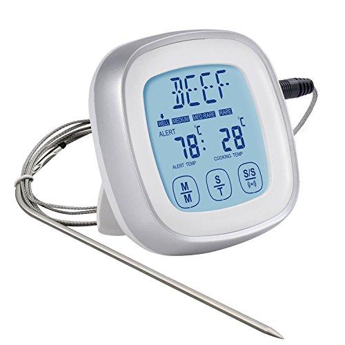 Termometro Digitale Cucina – Rantizon Termometro da Cucina Professionale e Timer Cucina, Termometro per Carne con Display LCD, Termometro Alimentare da Forno Digitale, per Forno /BBQ/ Grill