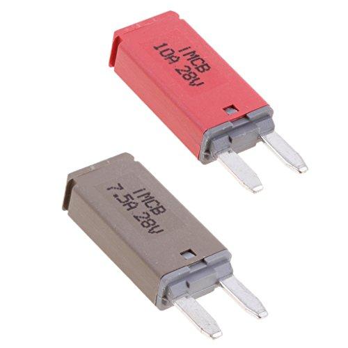 Sharplace Auto ATM Mini Sicherungen Flachsicherung Manuell Reset Circuit Breaker Fuse Schutzschalter - 2 Stück 7.5A+10A (Reset Kit)