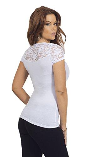 Femmes shirt U-cou Floral Lace Haut à manches courtes Dames Top Blanc