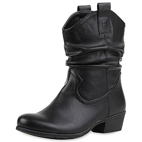 Damen Cowboy Boots Lederoptik Stiefeletten Blockabsatz Stiefel Damen STIEFELETTEN SCHWARZ 38