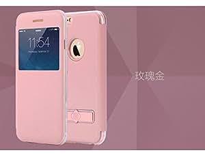 "Totu Design [ Half Window + Kickstand ] Flip Case Cover for Apple iPhone 6 / 6S ( Rose Gold ) - 4.7"""