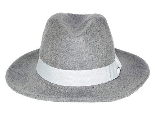 Accessoryo - Unisex hellgrauer Fedora Hut mit Off-White trimmen und Bogen (Fedora-hut Von Michael Jackson)