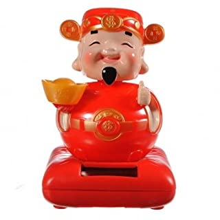 Red Swing Waving Head Chinese Luck God of Wealth Solar Power Toy