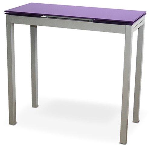 LIQUIDATODO ® - Mesa de cocina extensible con sobre de vidrio morado, plateado moderna y barata