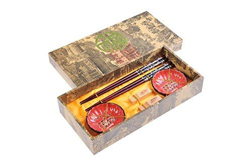 """Abacus Asiatica: set de palillos chinos hechos de madera de gran calidad, diseño """"Dragón negro"""", viene con soporte para los palillos y cuencos de cerámica en una caja de regalo (un par de palillos, dos soportes y dos cuencos), Mod. CBS-S2-G-H04 (DE)"""