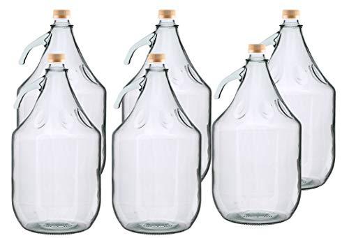 6er SET GLASBALLON GÄRBALLON FLASCHE GLASFLASCHE WEINBALLON GLAS BALLON 5L BDG5Z