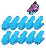 10er set Verstellbarer Schuhstapler Platzsparend Schuhhalter Kunstoff Schuhorganizer für Schrank Blau