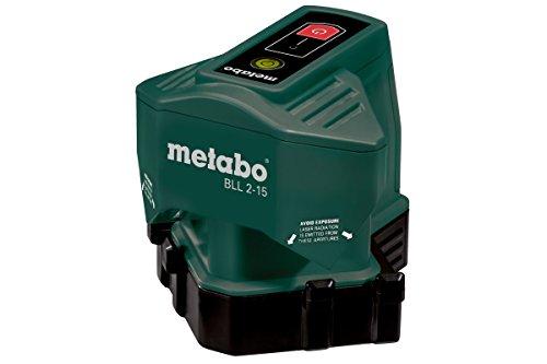 Metabo 606165000 Linienlaser (Bodenlinienlaser) BLL 2-15 | + Zielplatte, Gürteltasche, 3 Batterien AA 1,5 V (LR6) | (Laserklasse: 2 / Liniengeradheit± 0.3 mm/m / Schutzart IP 54 / Anzahl Linien 2)