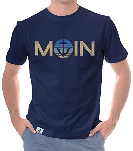 shirtdepartment - Norddeutsches Herren Outfit - Moin - Hoodie & T-Shirt für Nordlichter und Küstenkinder dunkelblau-Shirt-blau L