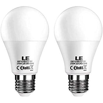 LE Bombillas LED, E27 9W Equivalente 60W Incandescente, Blanco cálido 2700K, Intensidad variable