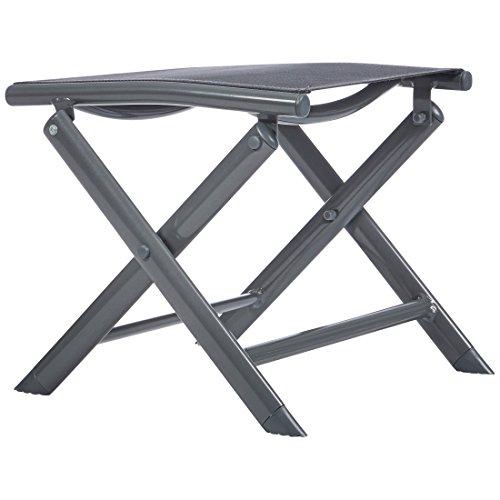 Ultranatura Aluminium Klapphocker, Fußstütze, Korfu Serie, faltbar, grau, 40 x 40 x 36 cm