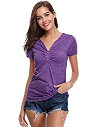 bb4f0764f Abollria T-Shirt para Mujer Camisetas Deportivo y Casual Tops Cuello-V