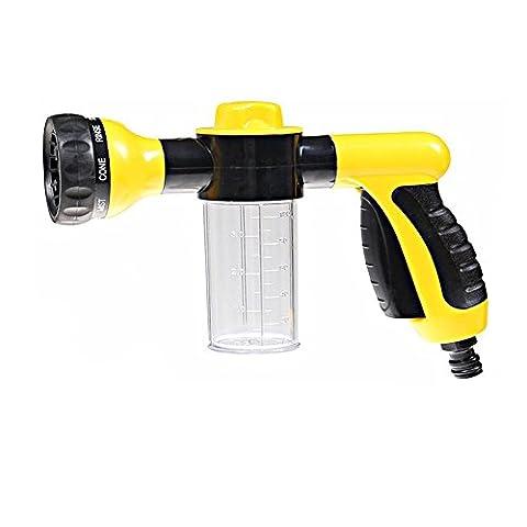 Garden Hose Foam Nozzle Spray - Car Washer Water Spray Gun Pistol Grip Sprayer with 8 adjustable Pattern for Car Washing, Garden/Lawn Watering, Room/Deck/Floor Cleaning, Pets Washing(Yellow)