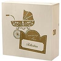 Preisvergleich für Kramkiste 25 x 25 cm als Geschenkidee - Holzbox mit Gravur - Motiv Vintage Kinderwagen Erinnerungsbox