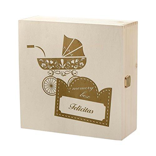 Kram Boîte Boîte en bois avec gravure personnalisée motif vintage Poussette HEBA-Germany Boîte