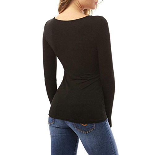 Damen Langarmshirts Longra Damen Slim V Neck T-Shirt Damen Langarm Straps Tops Shirt Bluse Tee Black