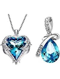 cadb12d281f84 Collier pendentif coeur océan fabriqué en cristal de Swarovski pour femmes  , Femmes Cristal Swarovski pendentif