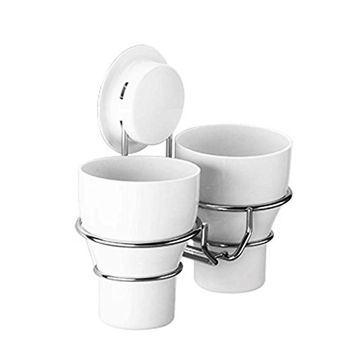Edelstahl Zahnbürste Zahn Paste Becherhalter Ständer Storage Rack Organizer Box Set mit 2Tassen Spülen für Toiletry Zahnpasta Rasierer Kamm–Wand montiert (Behindern Weiße Holz-wäscherei)
