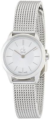 Calvin Klein K3M23126 - Reloj analógico de cuarzo para mujer con correa de acero inoxidable, color plateado
