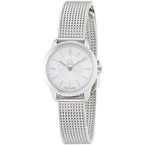 Calvin Klein K3M23126 - Reloj analógico de cuarzo para mujer con correa de acero inoxidable, color