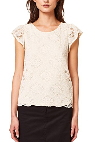 ESPRIT Damen T-Shirt 078EE1K014, Weiß (Off White 110), Small