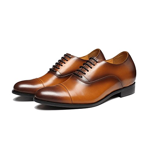 CHAMARIPA Herren Elevator Schuhe Aus Kalbsleder Oxford Schnürhalbschuhe,7 cm Höher - X92H38 Braun
