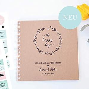 Personalisiertes Gästebuch mit Fragen & Stickern, Cover aus Kraftpapier