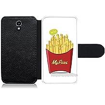 """Funda carcasa de cuero para Samsung Galaxy S4 diseño ilustración """"My fries"""" patatas fritas"""