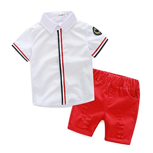 Internet Summer Kids Clothing Baby Boys T-shirts+Shorts Pants 2-7Y (90/2-3Y, Red)