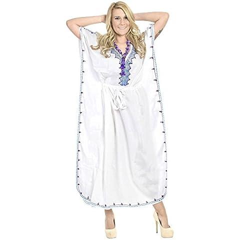 La Leela las mujeres-collar de regalo - vestido de traje de baño ocasional vestido de noche suave suave rayón caftán largo caftán bordado noche playa de encubrir